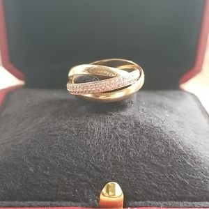CARTIER ROSE GOLD AND SAPPHIRE TRINITY RING